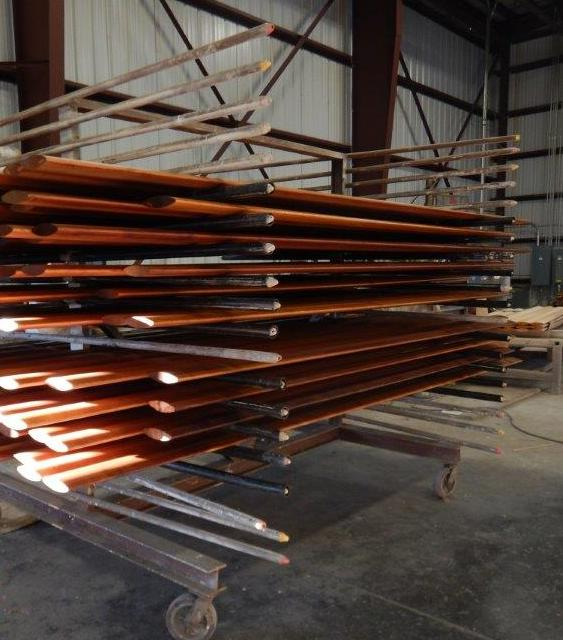 pre-stained air foils drying after coating