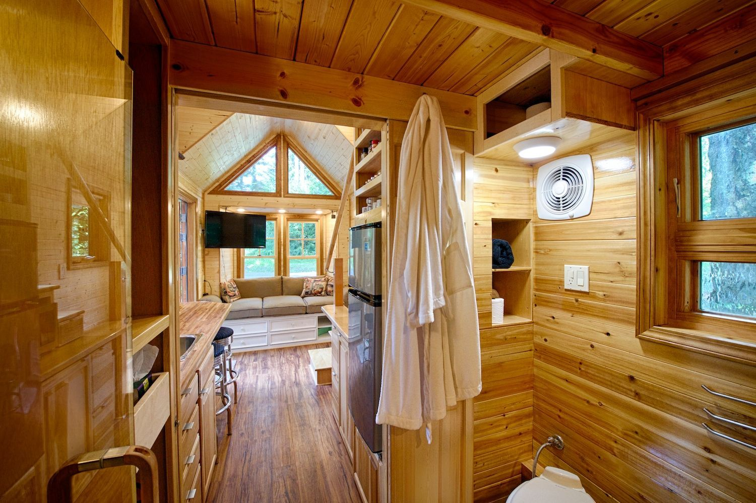 Wood Paneling Is An Ideal Choice For Tiny Home Interiors Due To Its Light  Weight And
