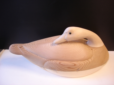 Decoy carved out of Western Red Cedar