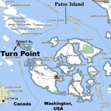 map of san juan islands showing the location of Stuart Island and the Turn Point light station