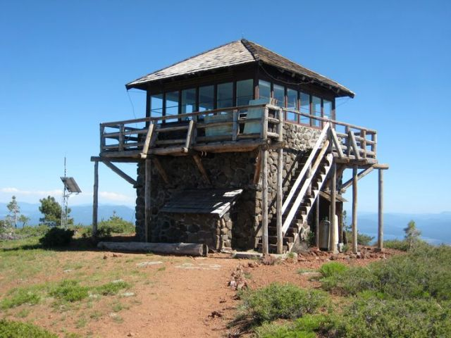 Fire lookout with fire treated western red cedar shingles