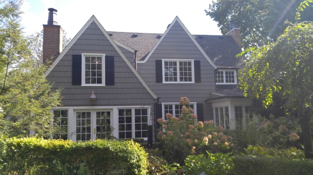 We custom primed and double coated these beautiful Cedar Shingles in the customer's desired color and shipped them to Illinois for this beautiful custom home's exterior