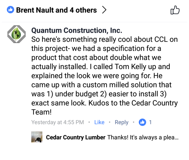 Customer Testimonial from Quantum Construction