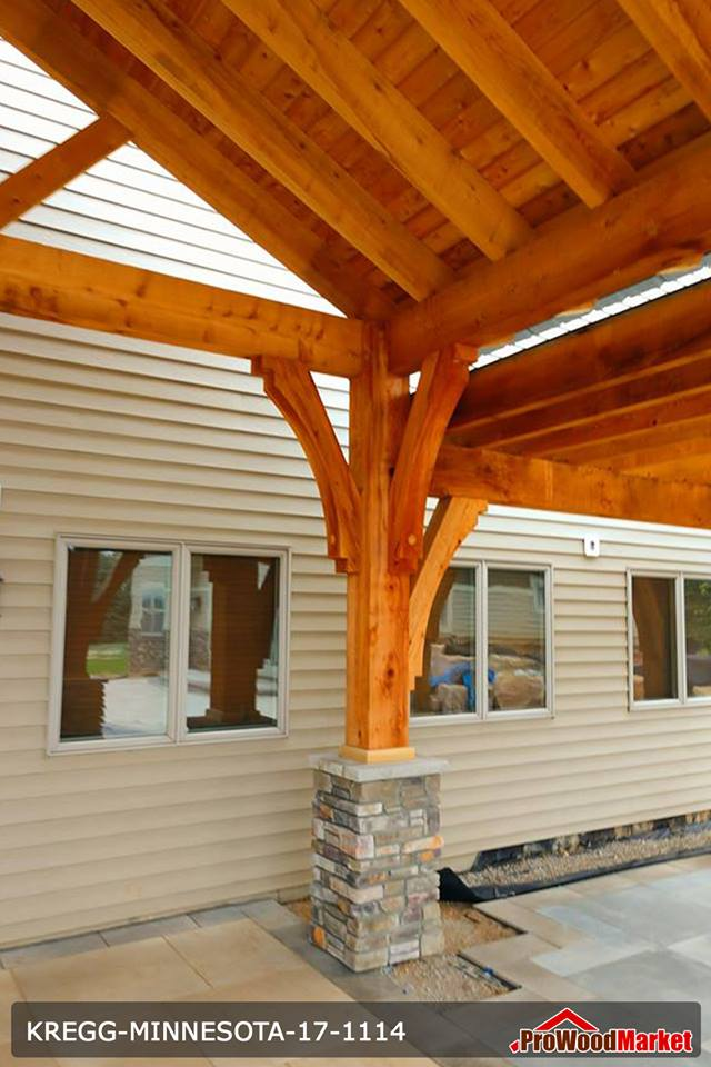 Western Red Cedar timber framed entry with Western Red Cedar T&G Soffits
