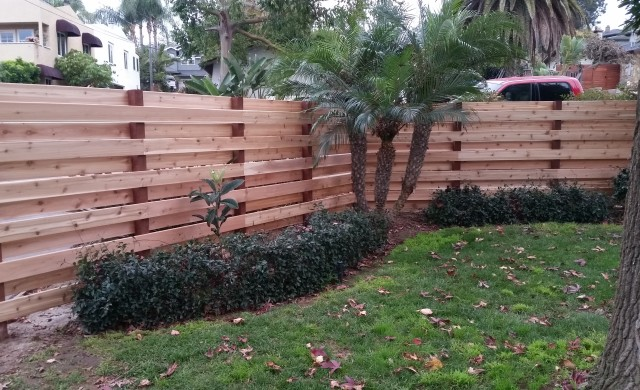 "5/4x6"" Knotty Western Red Cedar Decking used as privacy fencing"