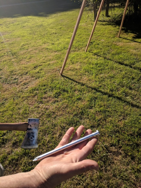 metal stakes secure the 2x2 western red cedar tee pee to the ground