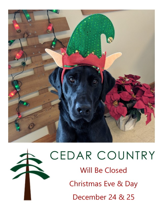 Cedar Country Christmas Hours 2018