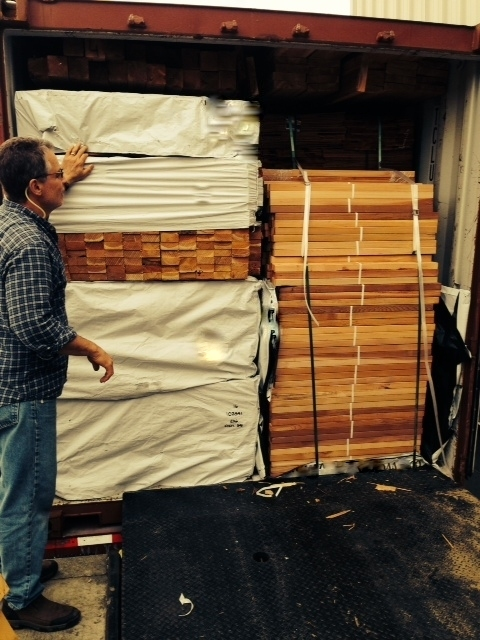 container load of Western Red Cedar preparing to ship to Hawaii