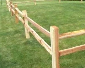 Two hole split rail western red cedar fence