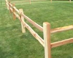 Two hole split rail western red cedar fence