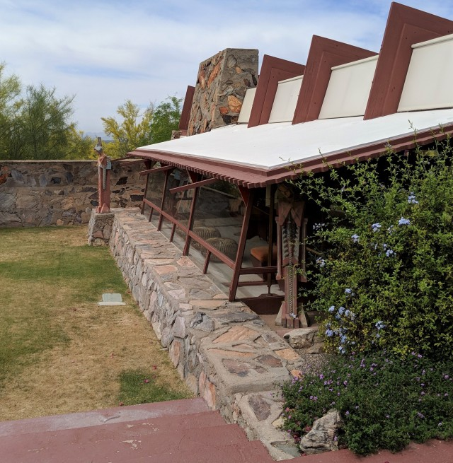 fully dimensional Douglas Fir beams used for historic renovation at Taliesin West