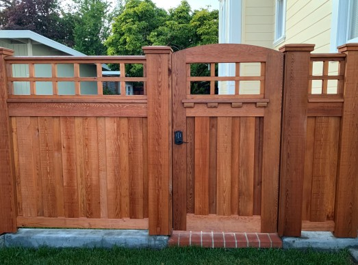 custom gate constructed from clear Western Red Cedar lumber