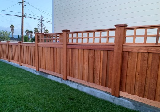 custom fence made from clear western red cedar lumber