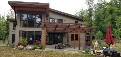 Western Red Cedar Pergola stained with Penofin penetration oil