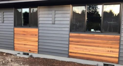 cedar siding accent using 1x4 clear Western Red Cedar TG