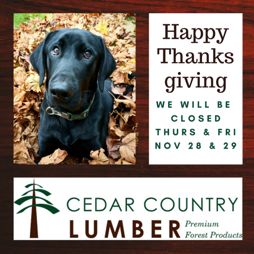 Thanksgiving hours for Cedar Country Lumber