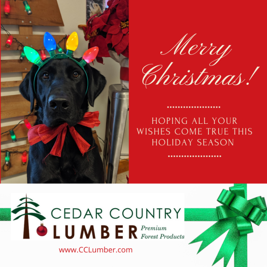 cedar country lumber Christmas holiday hours 2019