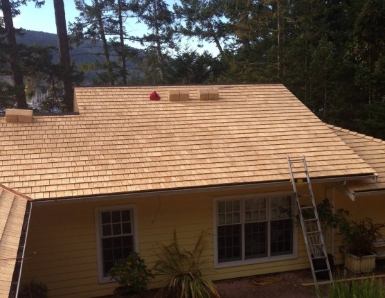 100% Edge Grain Alaska Yellow Cedar Shingles lay flat
