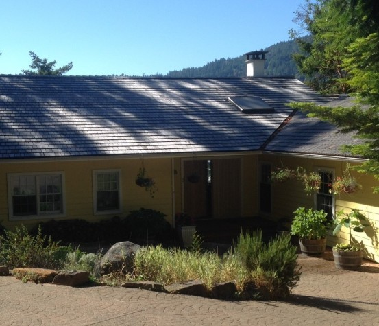 Yellow Cedar Shingle Roof left to weather into a beautiful gray