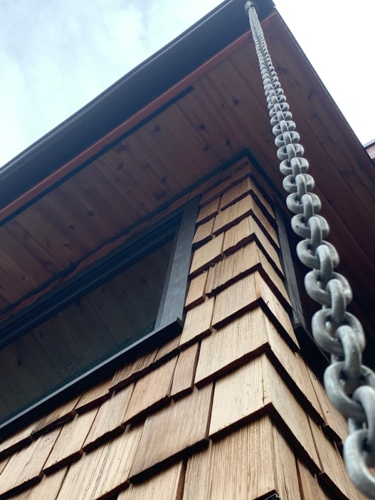 western red cedar shakes and knotty cedar soffit