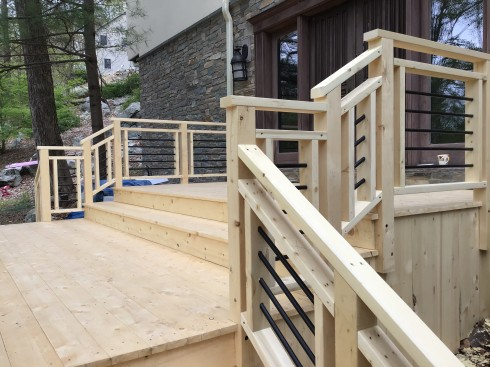 Knotty Alaska Yellow Cedar decking and railing materials